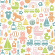Seamless pattern with colorful baby icons — Stock Vector #29023829