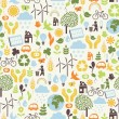 Stock Vector: Seamless pattern with eco icons