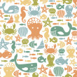 Stock Vector: Seamless pattern with colorful sea creatures