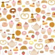 Seamless pattern with different types of pastries — Stock Vector #29023875