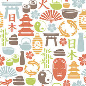 Seamless pattern with asian icons — Stock Vector