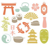 Set of colorful asian icons — Stock Vector