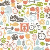 无缝模式与健康的生活方式的图标 — 图库矢量图片