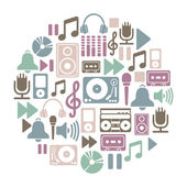 Round card with music icons — Stock Vector
