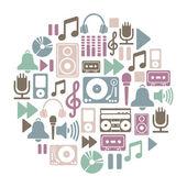 Tour de carte avec les icônes de la musique — Vecteur