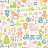 Seamless pattern with colorful baby icons — Stock Vector