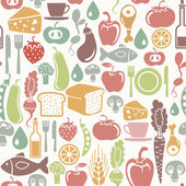 Seamless pattern with food icons — Stock Vector