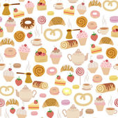 Seamless pattern with different types of pastries — Stock Vector