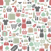 Seamless vector background with colorful shopping icons — Stock Vector