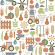 Stock Vector: Seamless pattern with agriculture icons
