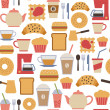 Seamless pattern with flat cafe icons — Stock Vector