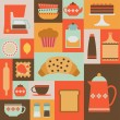 Постер, плакат: Card with flat kitchen items