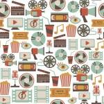 patrones sin fisuras con los iconos del cine retro — Vector de stock
