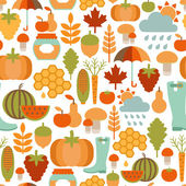 Seamless pattern with autumn icons — Stock Vector