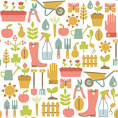 Seamless pattern with gardening icons — Stock Vector