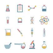 Conjunto de iconos de ciencia plana — Vector de stock
