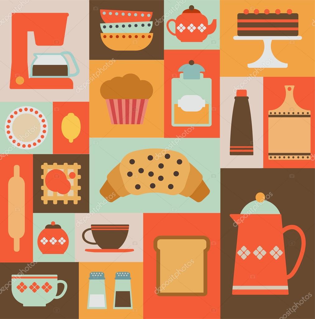 Tarjeta con elementos de cocina plana archivo im genes for Elementos de cocina