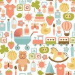 Seamless pattern with colorful flat baby icons — Stock Vector