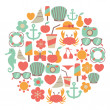 Summer vacations vector colorful icons — Vector de stock #35713143