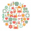 Summer vacations vector colorful icons — Imagen vectorial
