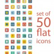 Stock Vector: Set of fifty flat icons
