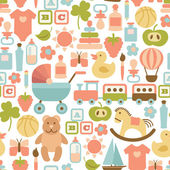 Seamless pattern with colorful flat baby icons — Stok Vektör