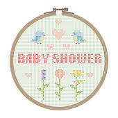 Cross stitched baby shower card — Stock Vector