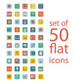 Set of fifty flat icons — Stok Vektör