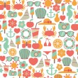 Stock Vector: Seamless pattern with summer icons