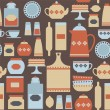 Постер, плакат: Pattern with vintage kitchen items