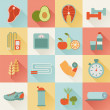 Set of flat healthy life icons — Stock Vector