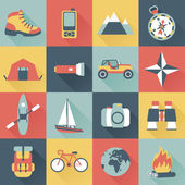 Set of flat adventure traveling icons — Stock Vector