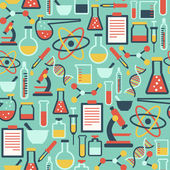 Pattern with flat science icons — Stockvektor