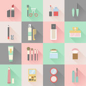 Set of flat beauty and makeup icons — Stock Vector