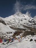 Drapeaux de prières et de la montagne de la chaîne de l'annapurna — Photo