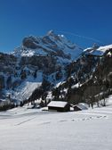 Winter scene in Braunwald, mountain named Ortstock — Stock Photo