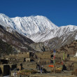 Khangsar and snow capped Tilicho Peak — Stock Photo