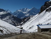 View from Thorung Phedi High Camp towards Annapurna One — Stock Photo