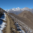Foot-path from Muktinath to Jomosom, autumn scene — Stock Photo