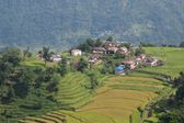 Village on a hill top near Khudi, Nepal — Stock Photo