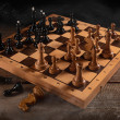 Chess battle black and white — Stock Photo