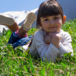 Girl in meadow — Stock fotografie