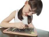 Drawing girl — Stock Photo