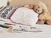 Rabbit toy on the bed — ストック写真