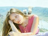 Young women at nature — Stok fotoğraf