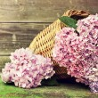 Wicker basket with pink flowers — Stock Photo #30911895
