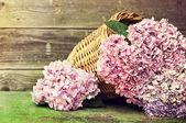 Weidenkorb mit rosa Blüten — Stockfoto