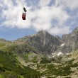 Stock Photo: Cableway to peak in mountains