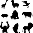 Silhouette of various animals — Stock Vector