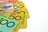 Some Australian money on white background — Stockfoto
